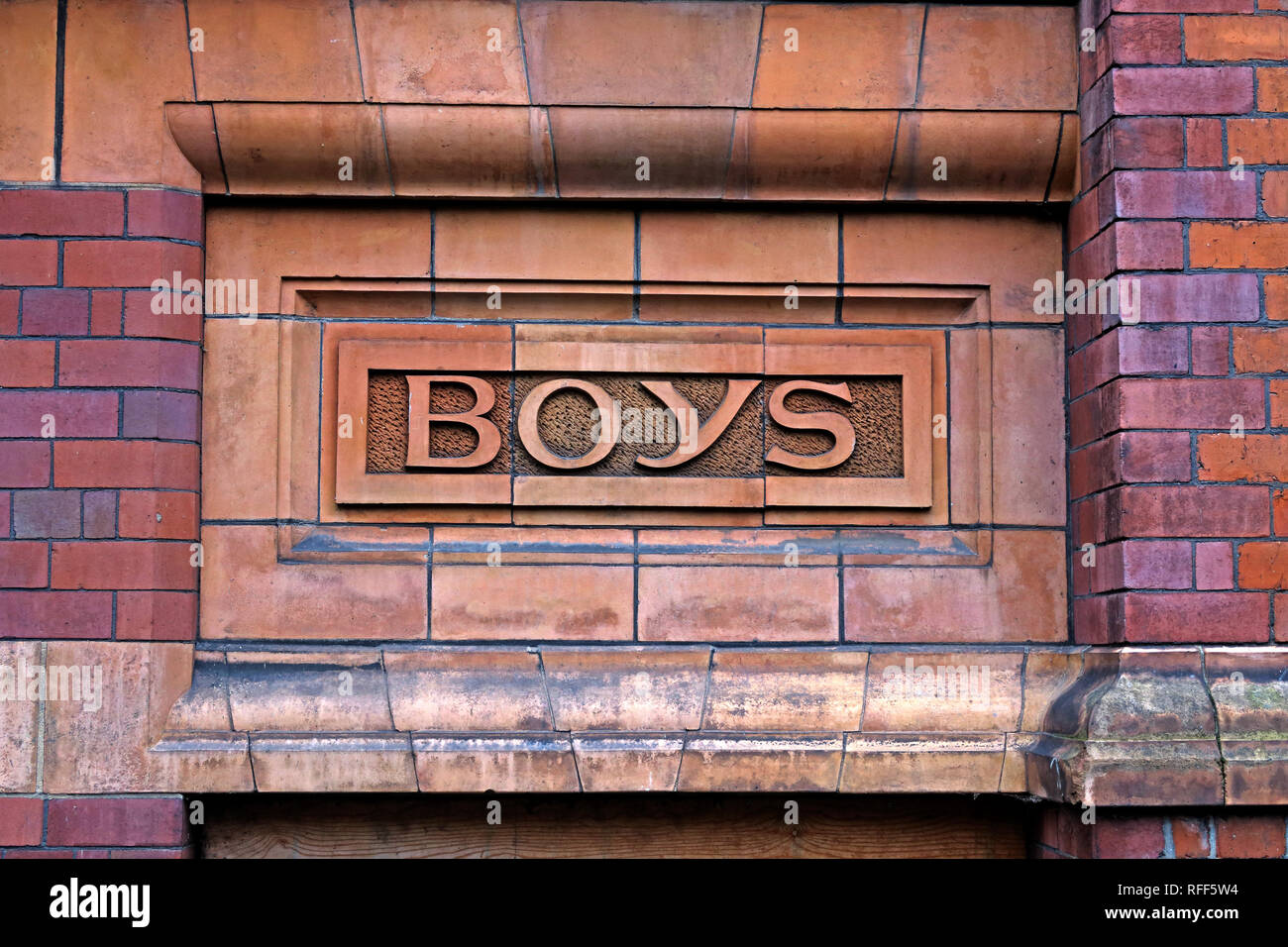 Boys only, Victorian Boys entrance to a school, Manchester, England, UK - Stock Image