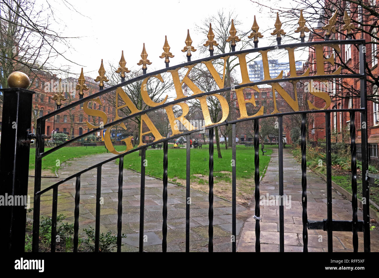 Sackville Gardens gates, canal Street, Manchester M1 3HB - Stock Image