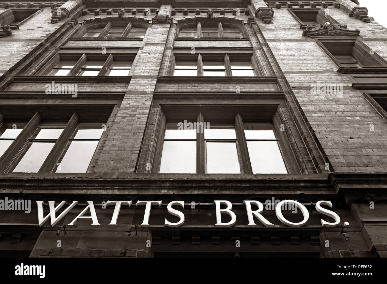 Monochrome, Black and White, Watts Brothers building, Bunsen St, Manchester, England, UK,  M1 1DW - Stock Image