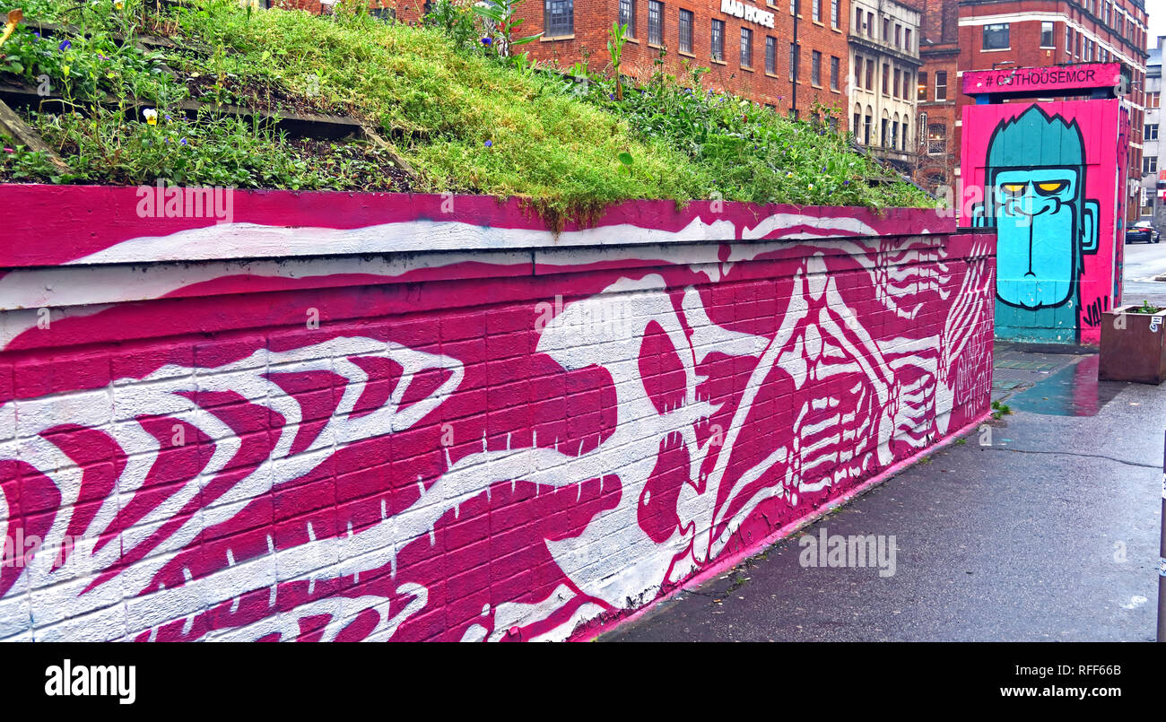 #OutHouseMcr Bee, Stevenson Square, Northern Quarter, Manchester, North West England, UK, M1 - Stock Image