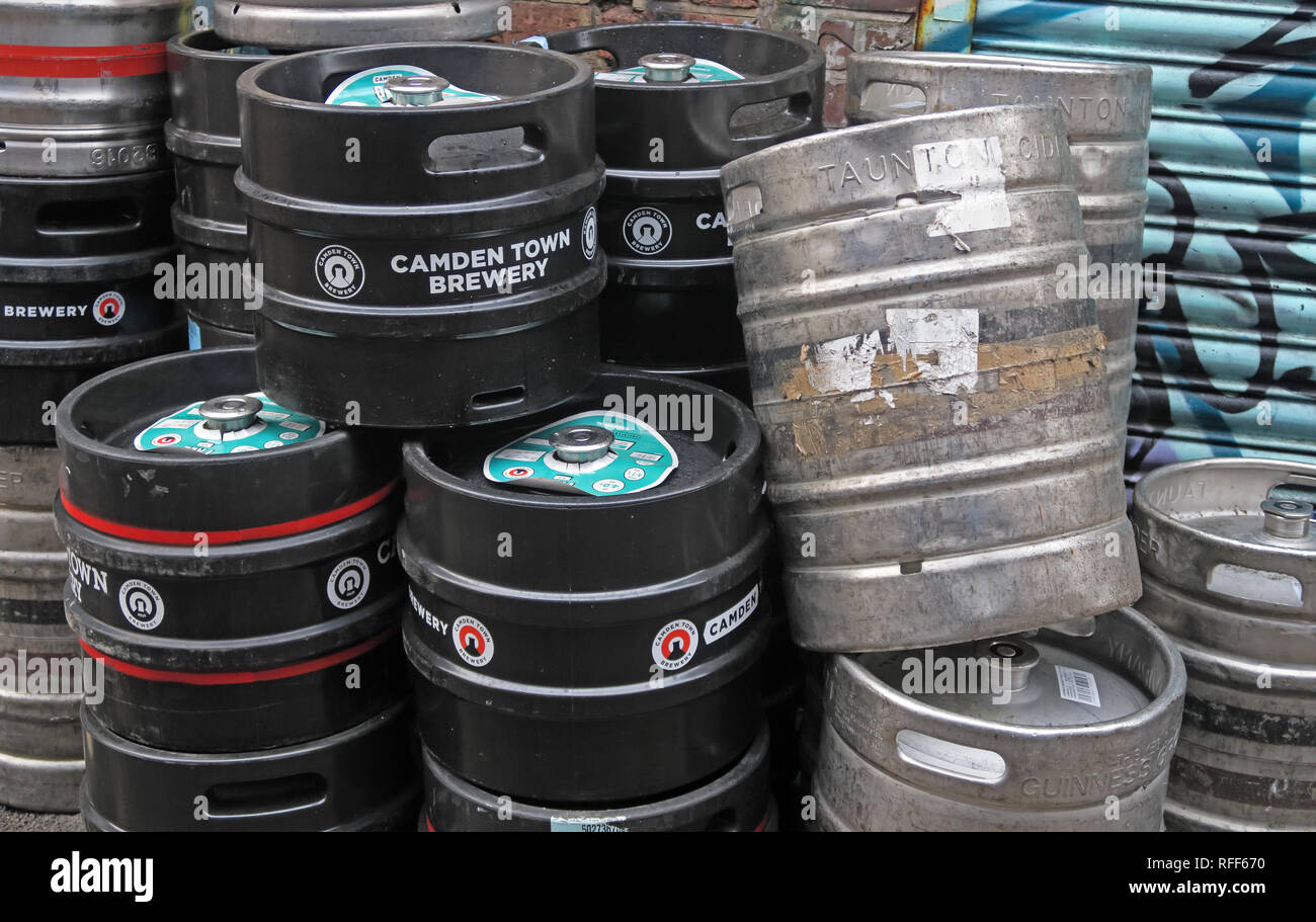 Camden Town Brewery, craft beer and cider kegs rear of a bar, in Northern Quarter, Manchester, North West England, UK - Stock Image