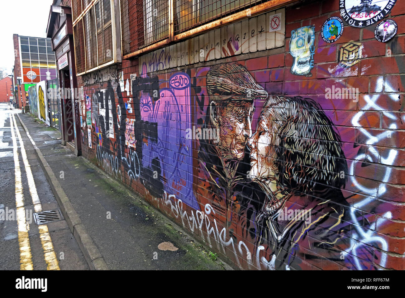 Two old people kissing, art work, Newton St, Northern Quarter, Manchester, M1, England, UK Stock Photo