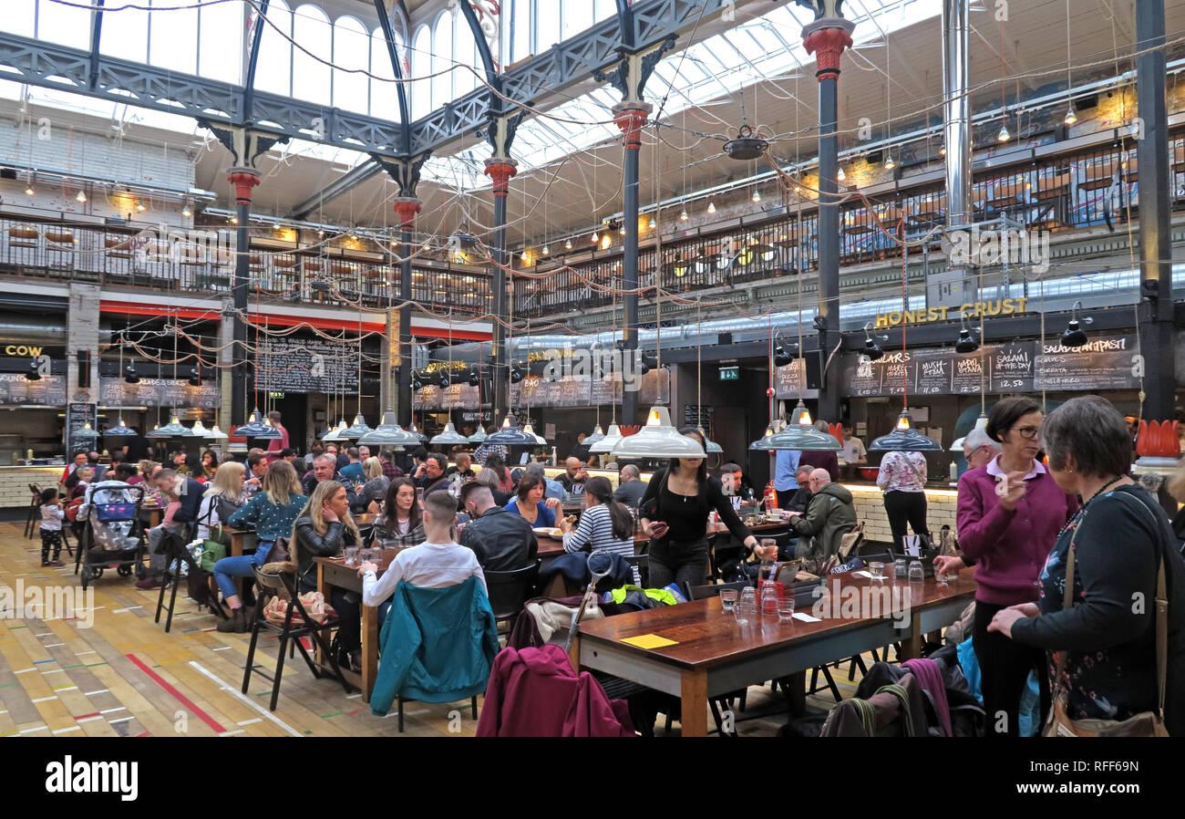 Interior of Maccy Mayor NQ, Eagle Street, Manchester, Lancashire, England, UK,  M4 5BU, unique eating food court - Stock Image