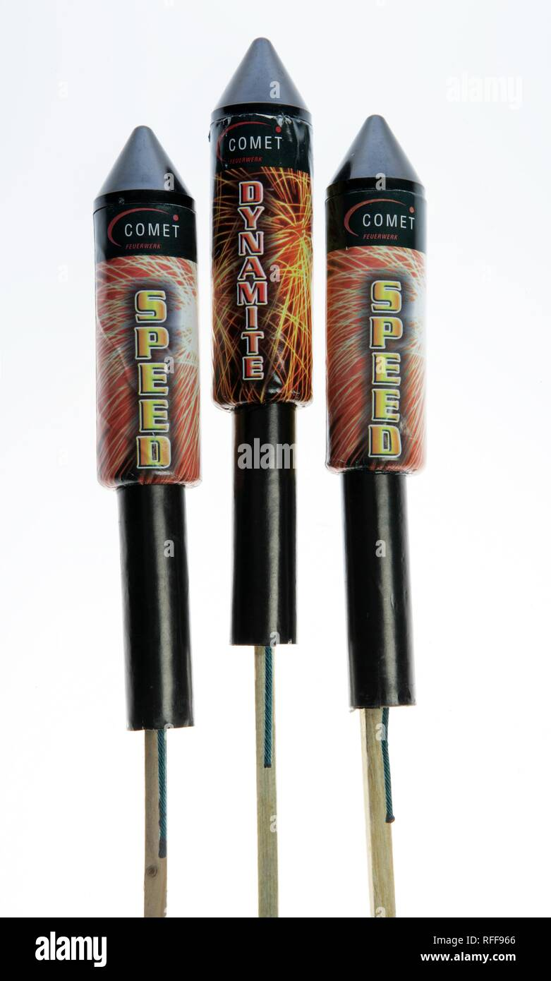 Fireworks three rockets - Stock Image