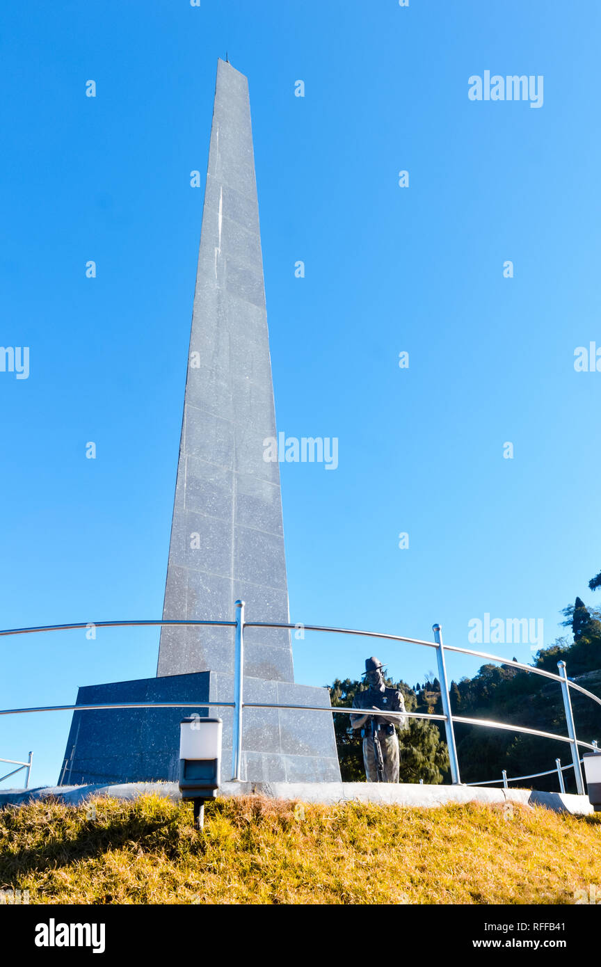 View of Batasia loop war memorial, The famous Gorkha war memorial in Ghum, Darjeeling India. The place opened in 1995 to commemorate soldiers who lost - Stock Image