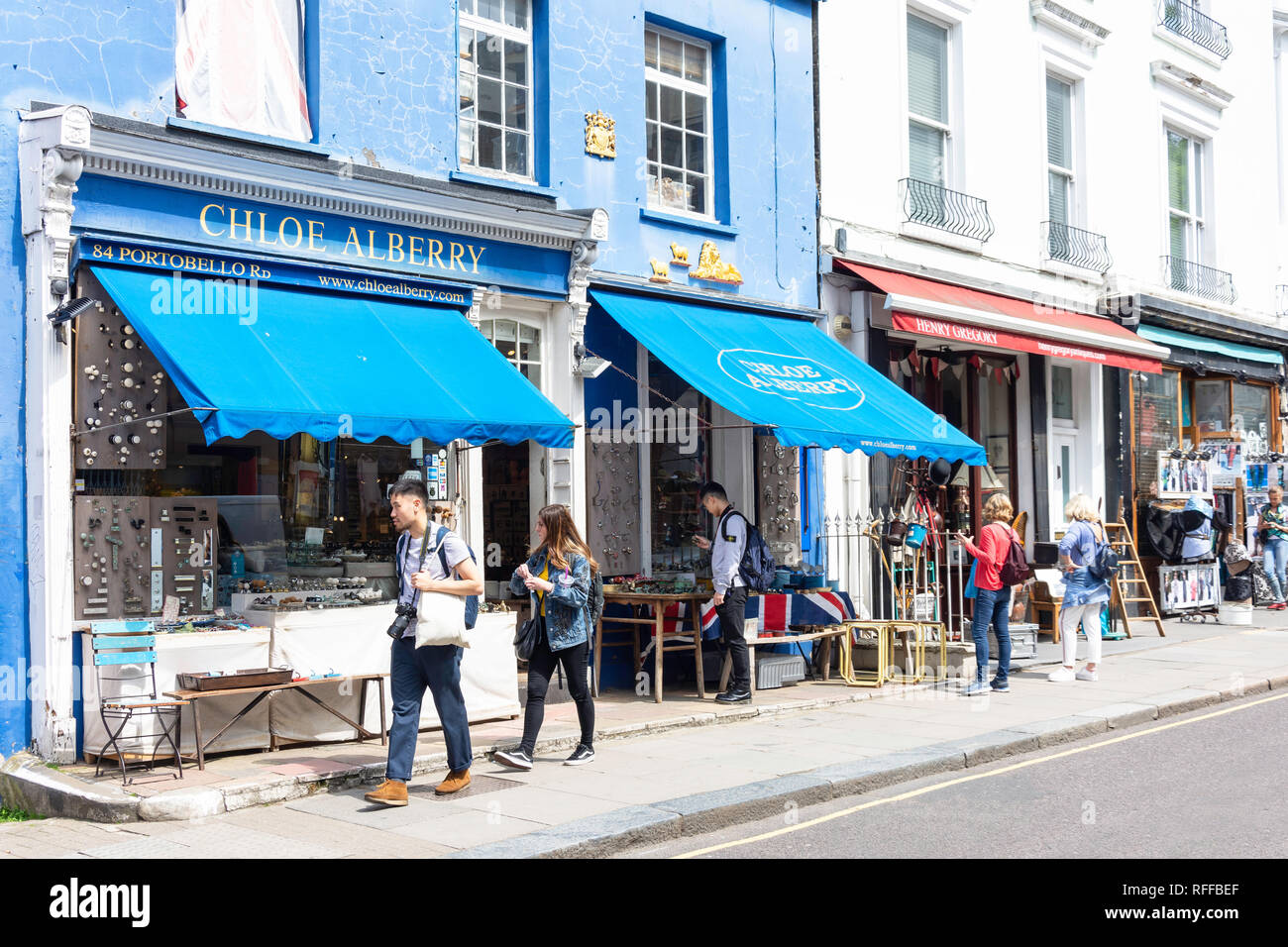 Antique shop displays, Portobello Road, Notting Hill, Royal Borough of Kensington and Chelsea, Greater London, England, United Kingdom Stock Photo