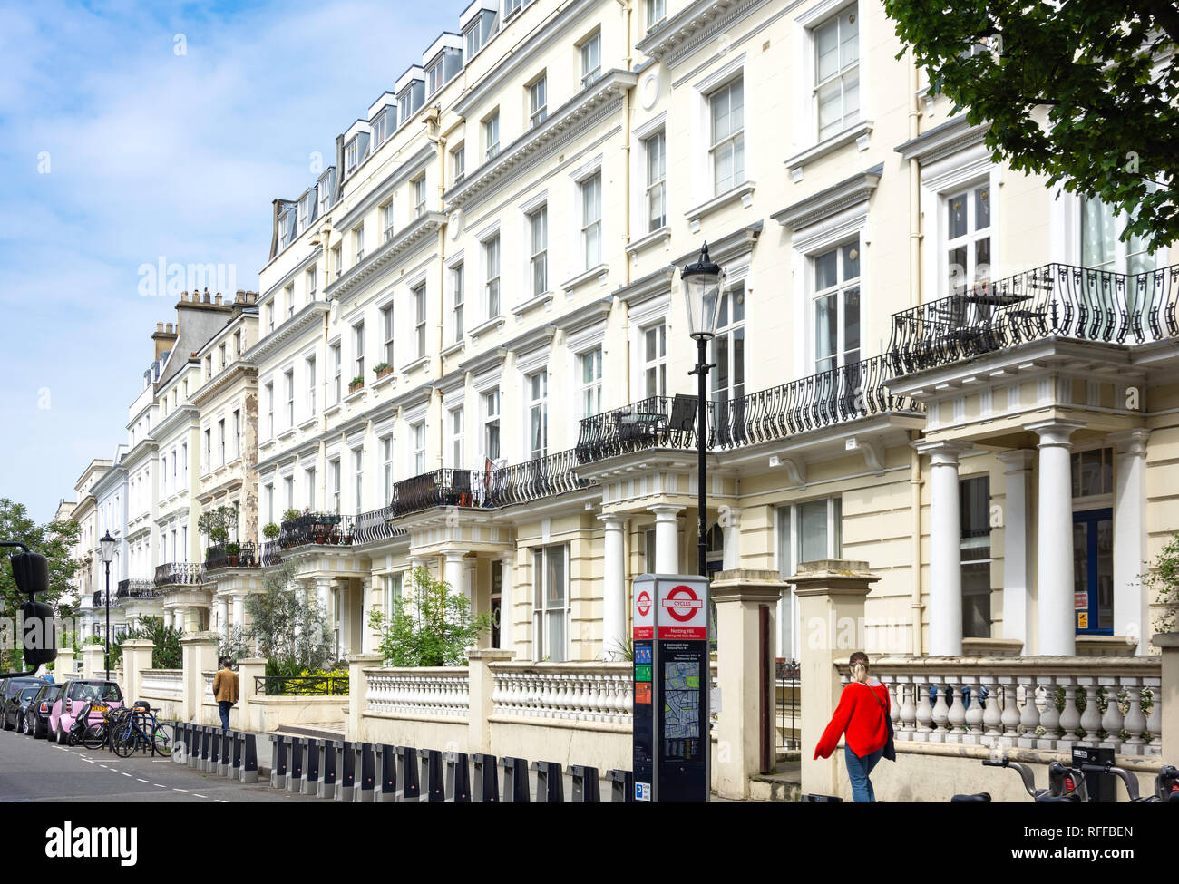 Victorian townhouses, Pembridge Gardens, Notting Hill, Royal Borough of Kensington and Chelsea, Greater London, England, United Kingdom - Stock Image