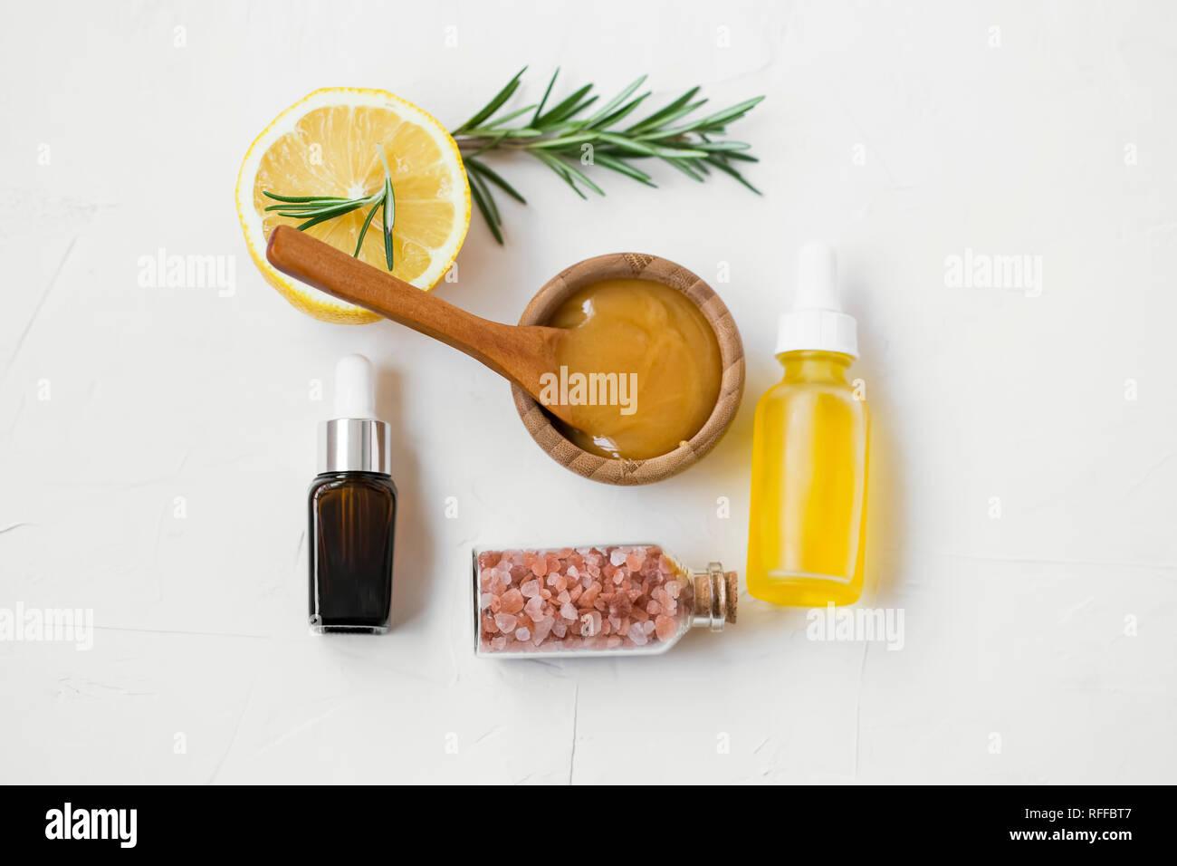 Organic skincare ingredients with manuka honey, oils, bath