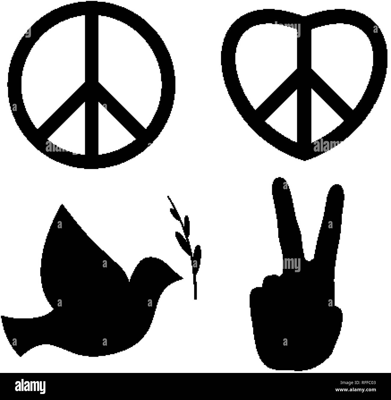 Peace signs dove, v hand, nuclear disarmament and heart of love ...