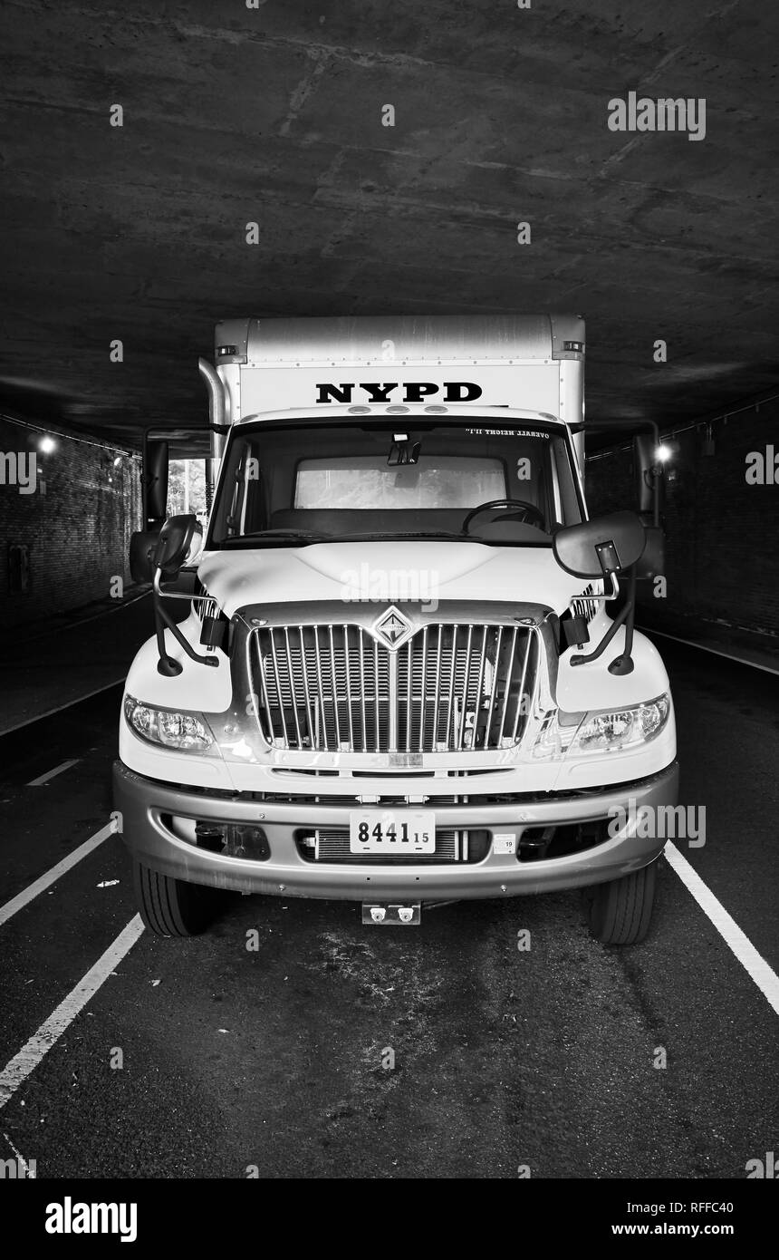 New York, USA - July 03, 2018: NYPD truck parked under an overpass in downtown New York. - Stock Image
