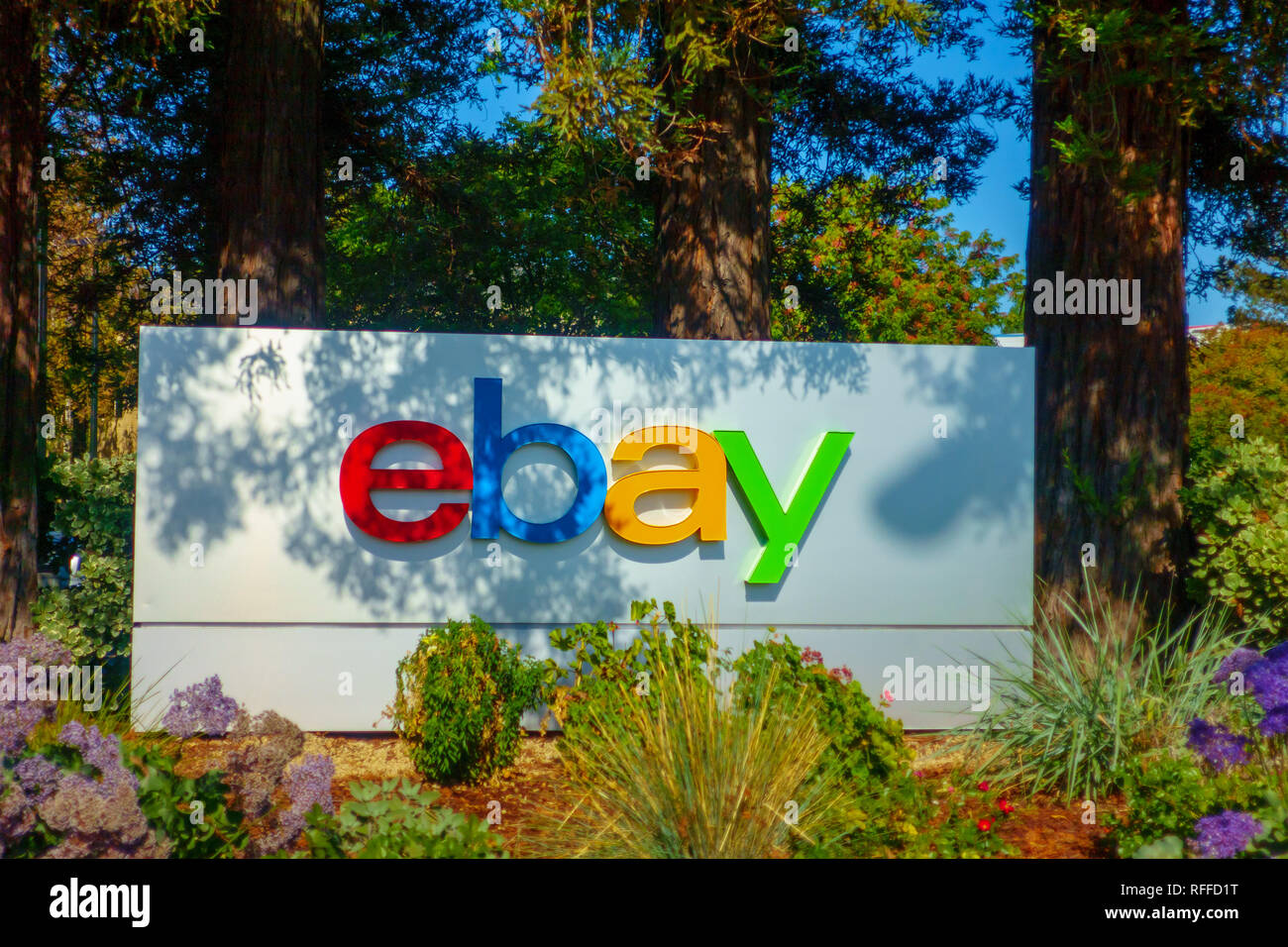Ebay Outdoor Logo At Company Headquarters In Silicone Valley Stock Photo Alamy