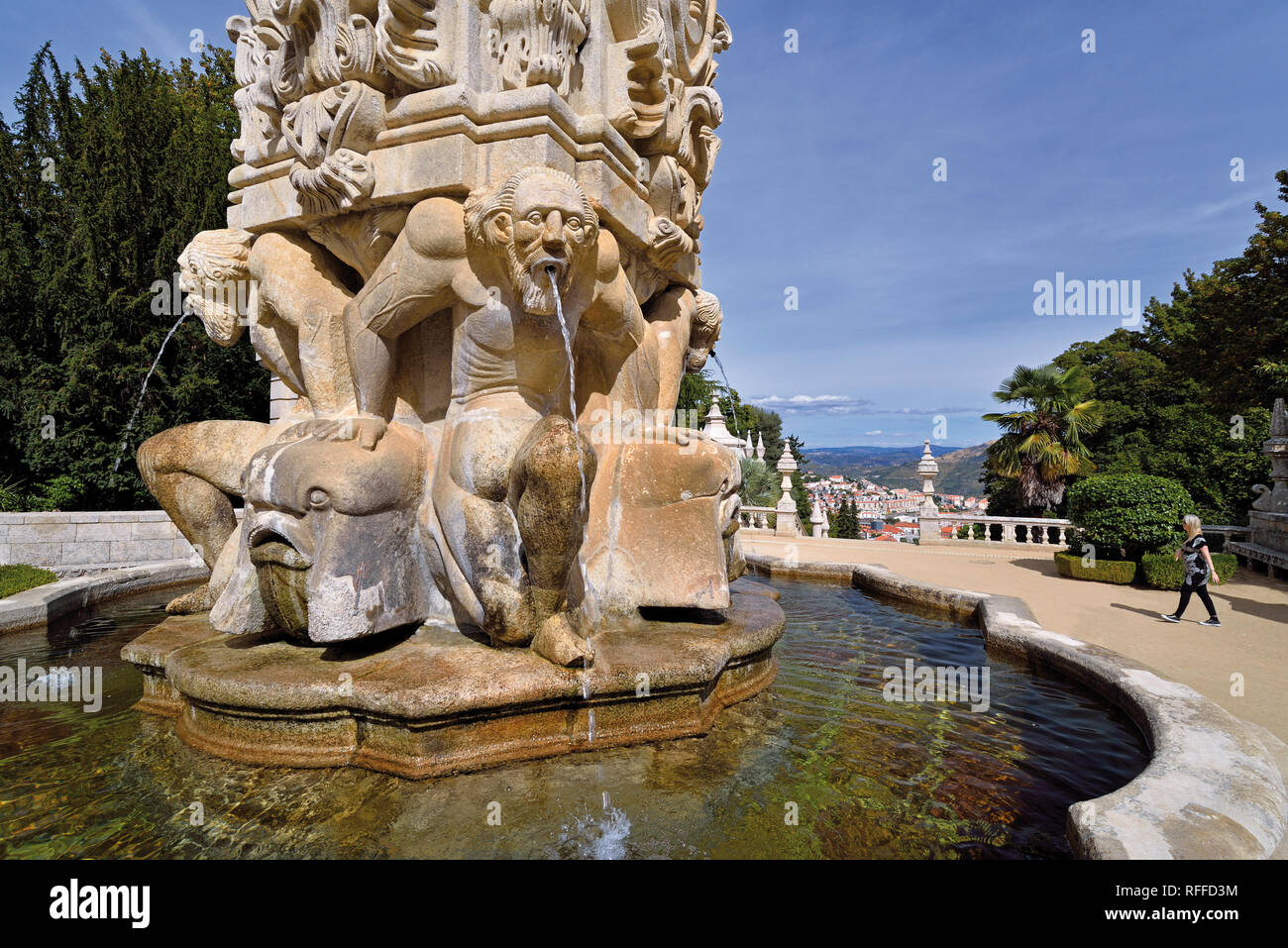 Fountain with mythological figures as part of the sanctuary staircase of Nossa Senhora dos Remedios in Lamego - Stock Image