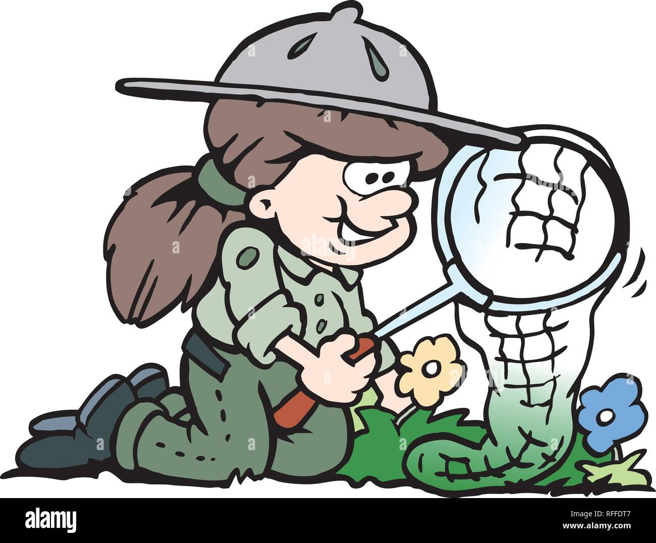 Cartoon Vector illustration of a little happy Scout Girl - Stock Vector