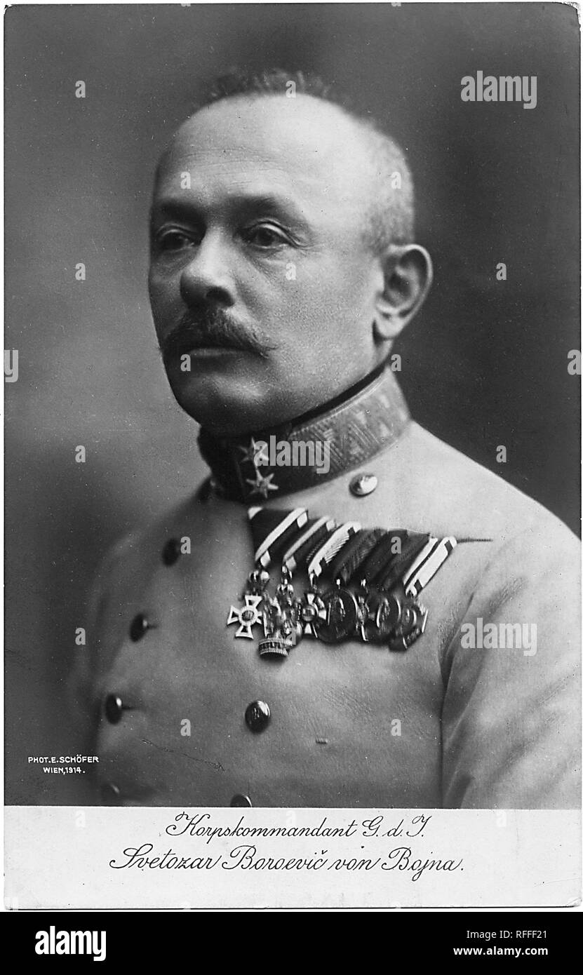 Portrait of K.u.k.Feldmarschall Svetozar Boroević (Borojević) (13 December 1856 – 23 May 1920) was an Austro-Hungarian field marshal who was described as one of the finest defensive strategists of the First World War. He was given Austrian nobility as Baron Boroević von Bojna, and later rising to the rank of Field Marshal before the end of the First World War in 1918. Postcard - Stock Image