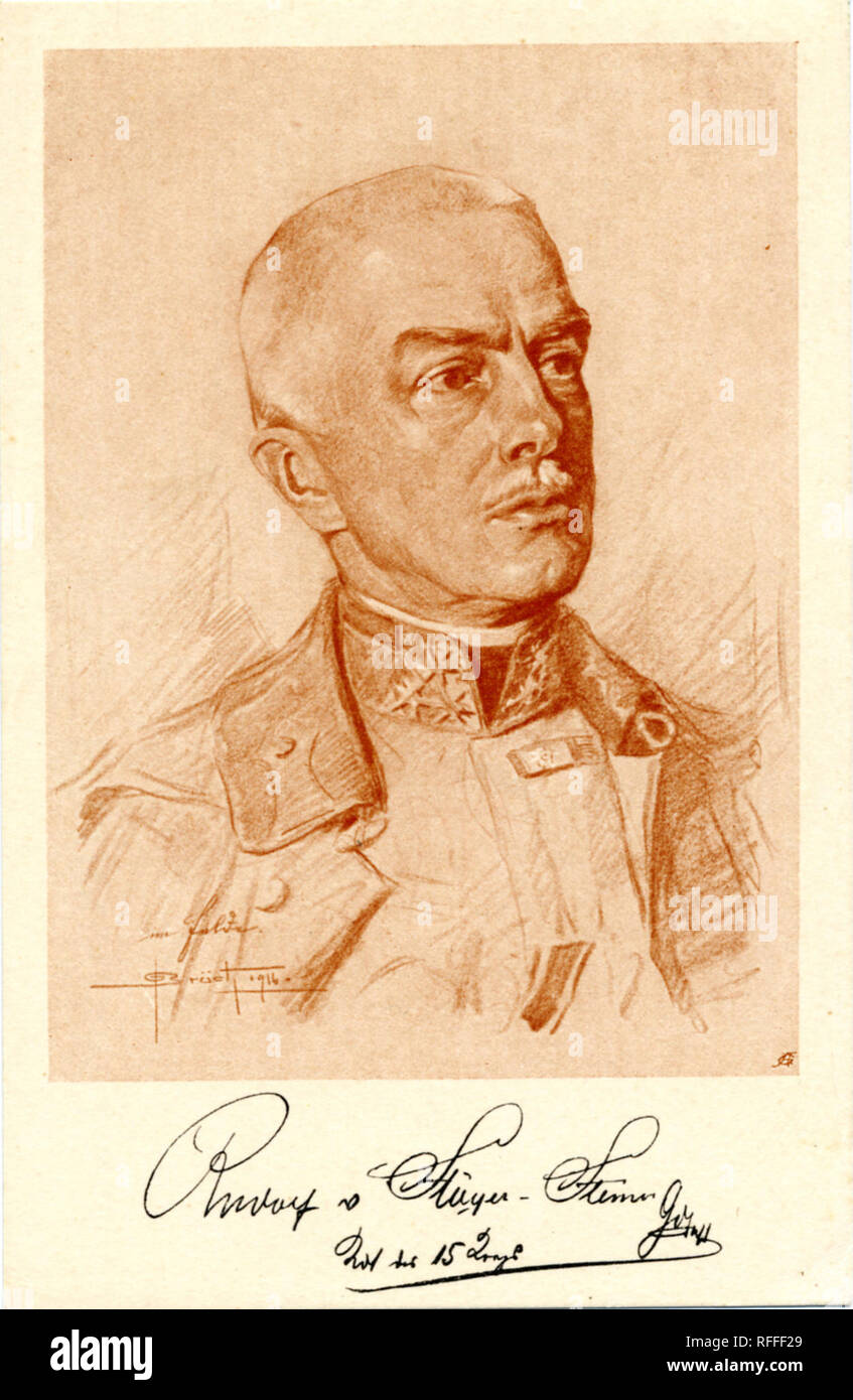 Portrait of Rudolf Freiherr Stöger-Steiner von Steinstätten (26 April 1861 – 12 May 1921) was a Colonel-General in the Austro-Hungarian army and served as the last Imperial Minister for War. Postcard - Stock Image