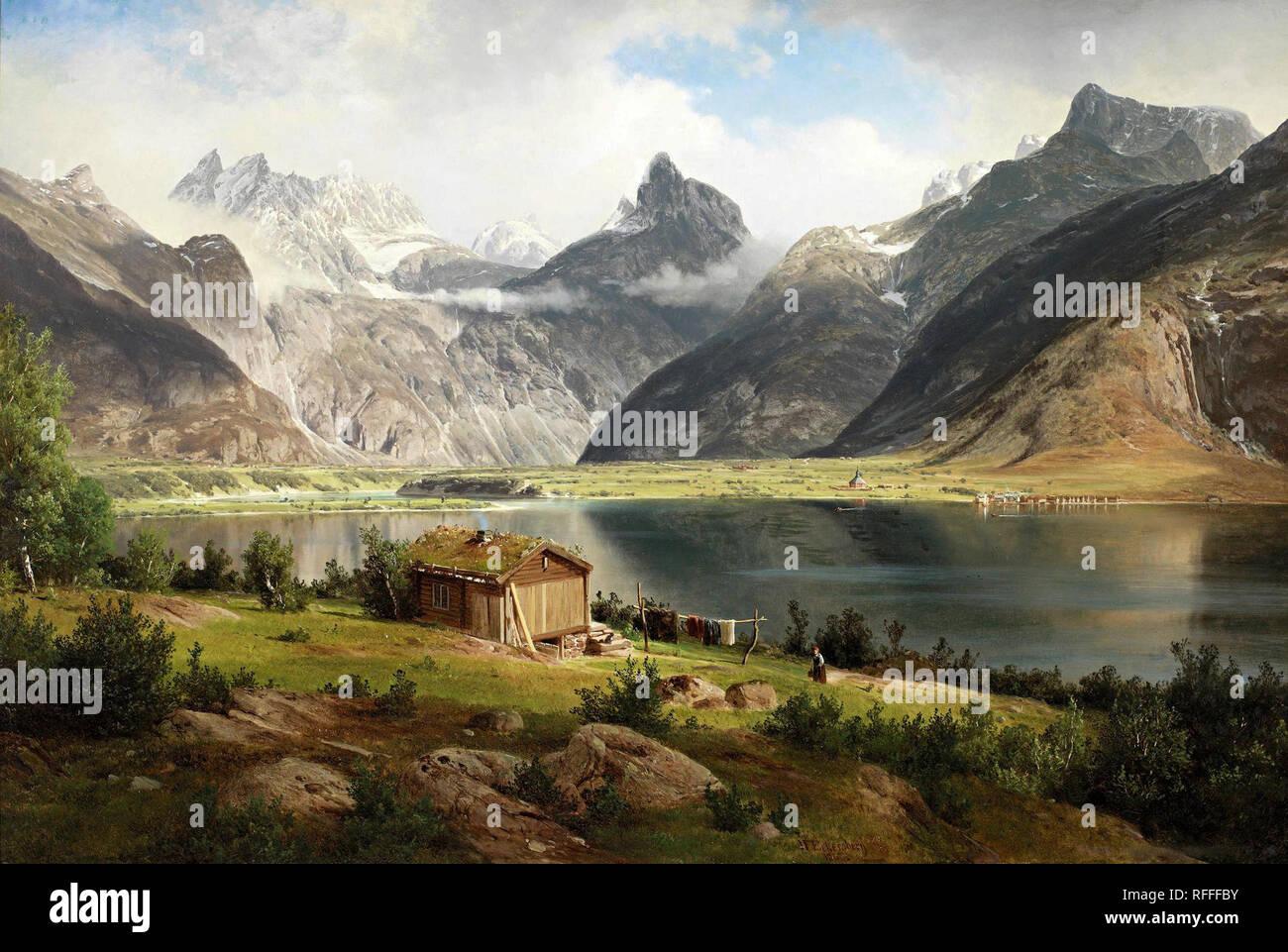 Johan Fredrik Eckersberg – private collection. Title: Fra Romsdalen. Date: 1865. Materials: oil on canvas laid on board. Dimensions: 64 x 95 cm. Source: http://www.goldenkiteforum.com/gallery/files/1/9/8/7/7/johan_fredrik_eckersberg_1822-1870_-fra_romsdalen.jpg. - Stock Image