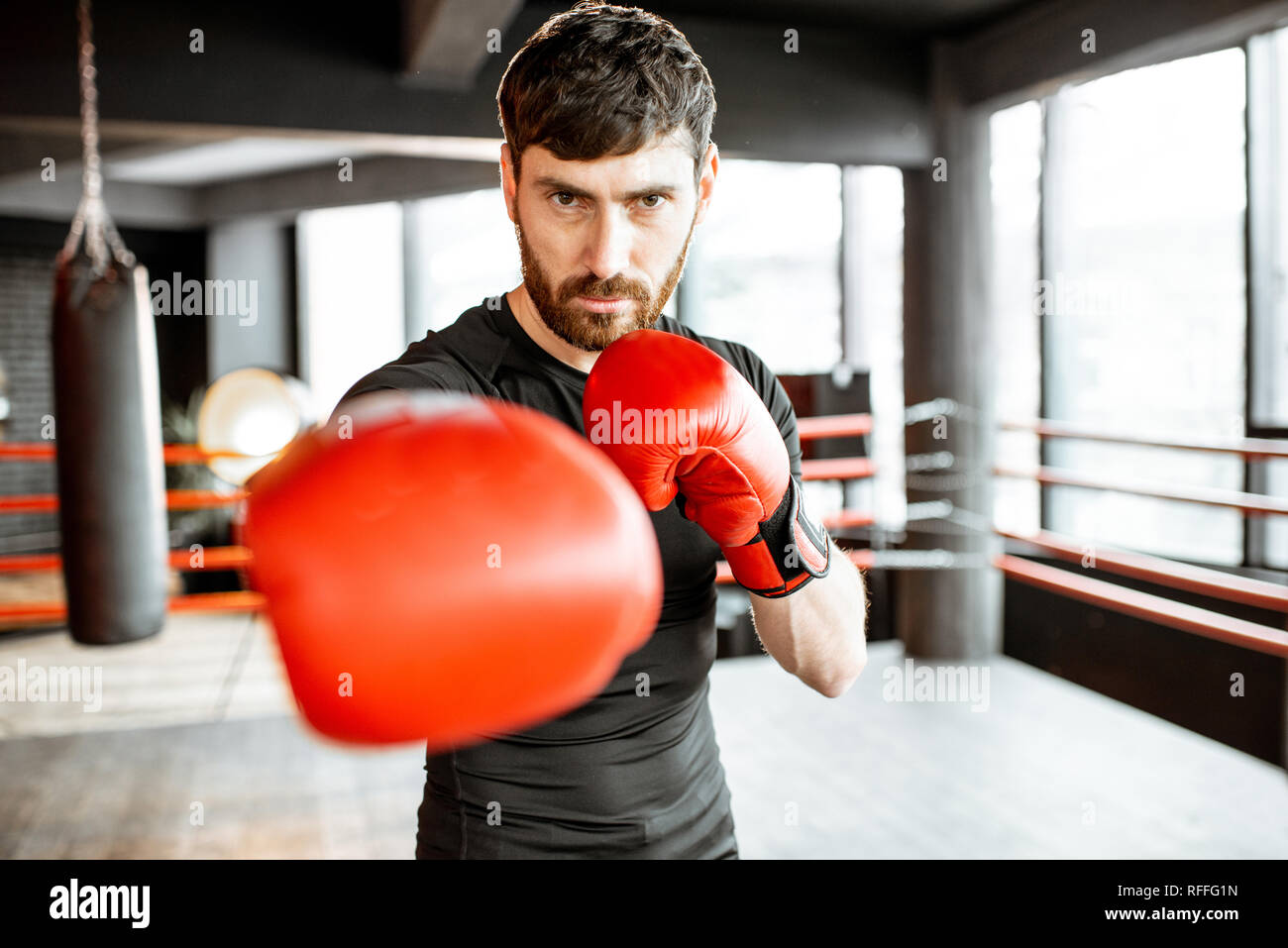 Portrait of an athletic man as a boxer in red boxing gloves on the fighting ring at the gym - Stock Image