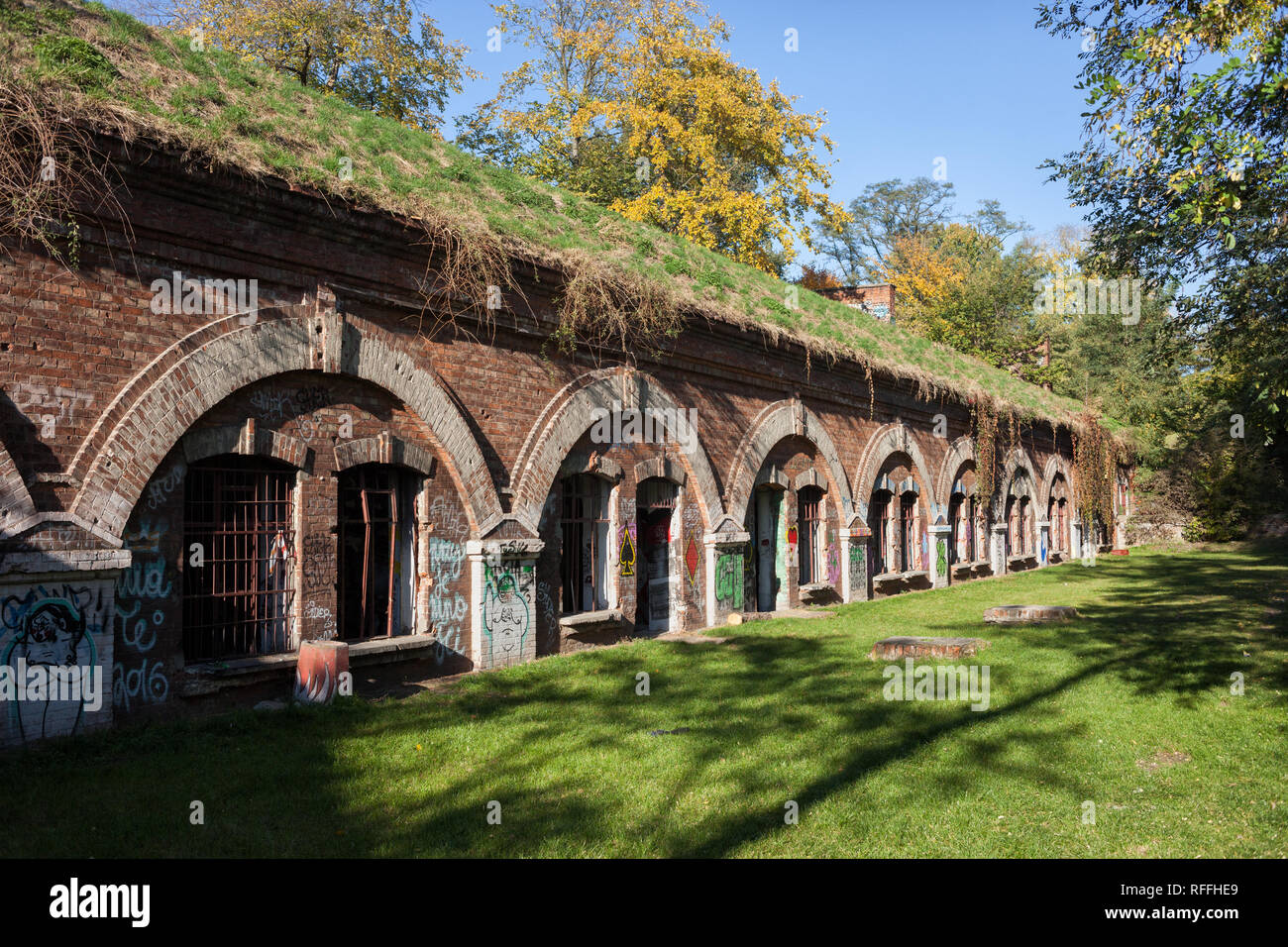 Fort Bema in Warsaw, Poland, 19th century fortification buildings built between 1886-90 under the orders of Imperial Russia. - Stock Image