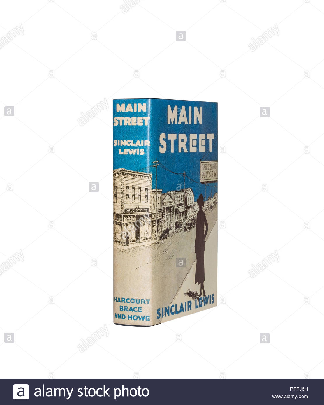 The First Edition Library copy of Sinclair Lewis's 'Main Street', isolated on pure white background. - Stock Image