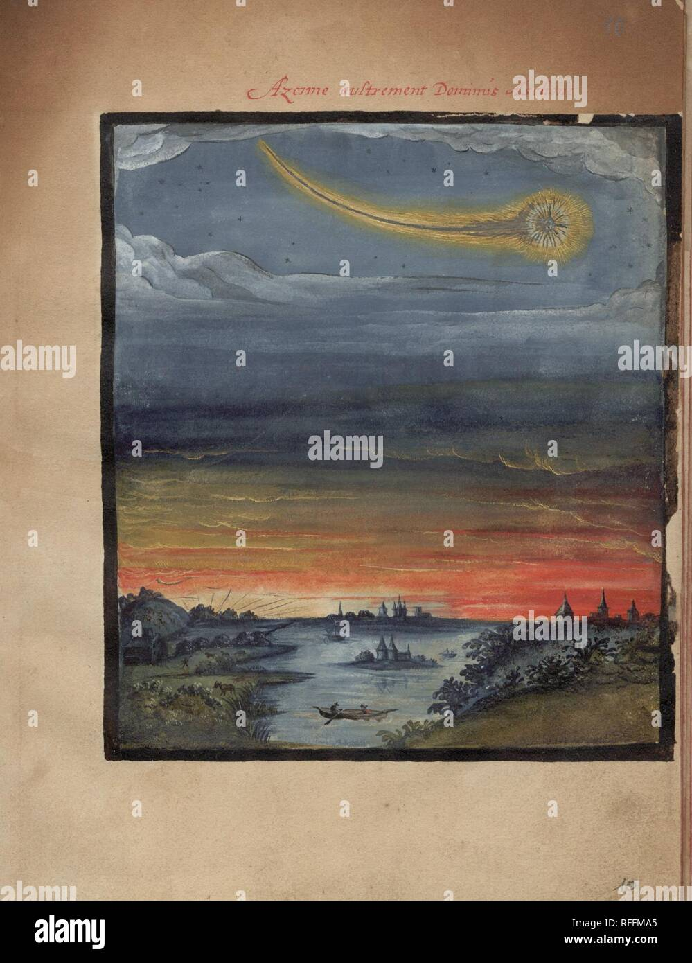 The Comet Book ('Kometenbuch') is a 16th century album of stylised watercolour sketches of both comets and meteors - Azome austrement D.jpg - RFFMA5 1RFFMA5 - Stock Image