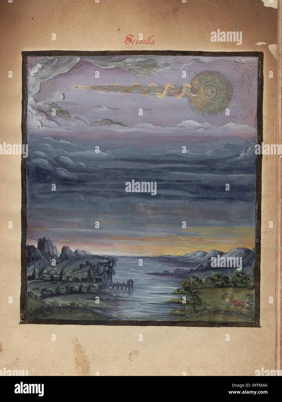 The Comet Book ('Kometenbuch') is a 16th century album of stylised watercolour sketches of both comets and meteors - Scutella a.jpg - RFFMA6 1RFFMA6 - Stock Image