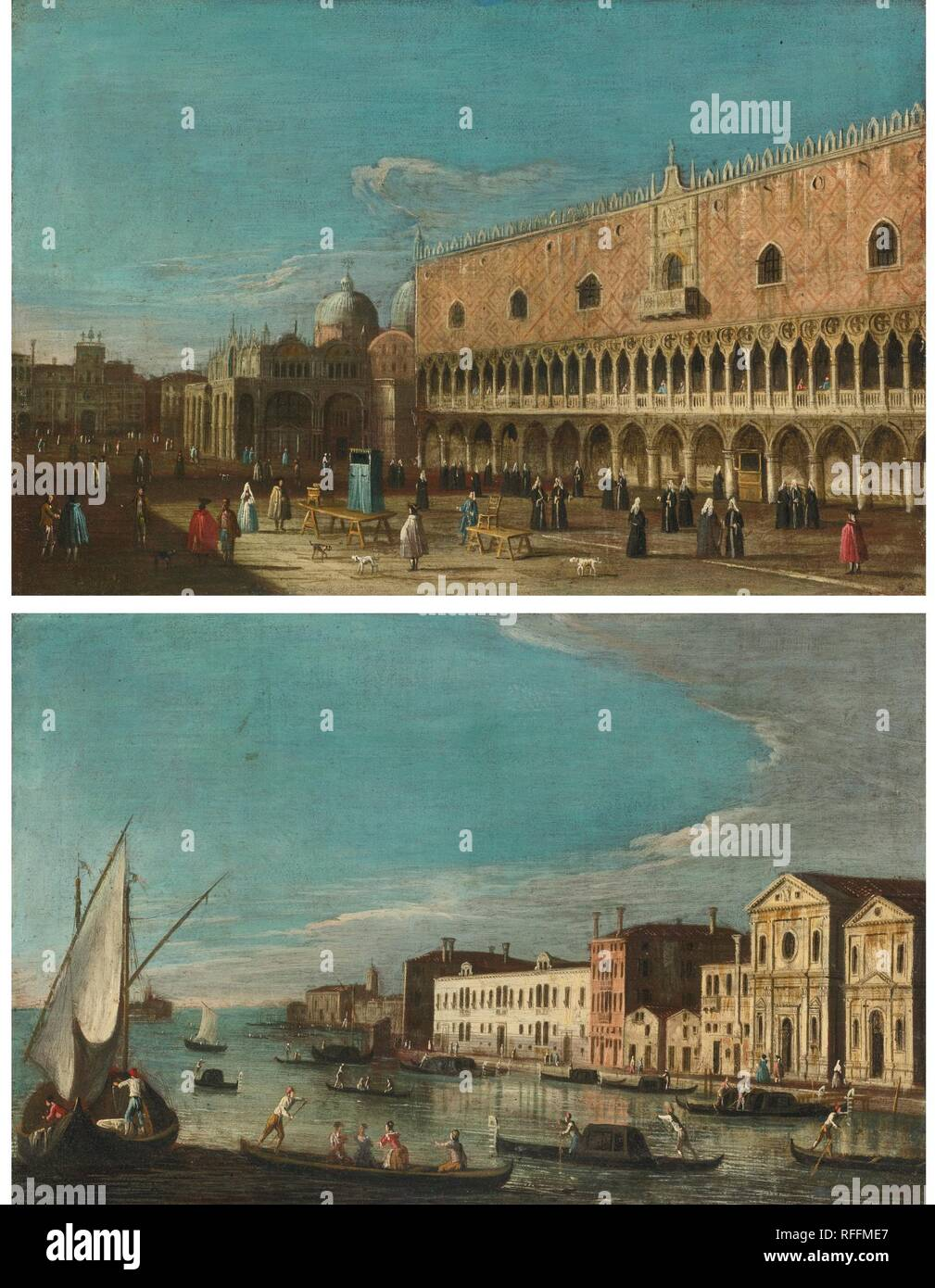 The Master of the Langmatt Foundation Views ACTIVE VENICE CIRCA 1740-1770 VENICE, A VIEW OF THE DOGE'S PALACE LOOKING TOWARDS SAINT MARK'S.jpg - RFFME7  - Stock Image