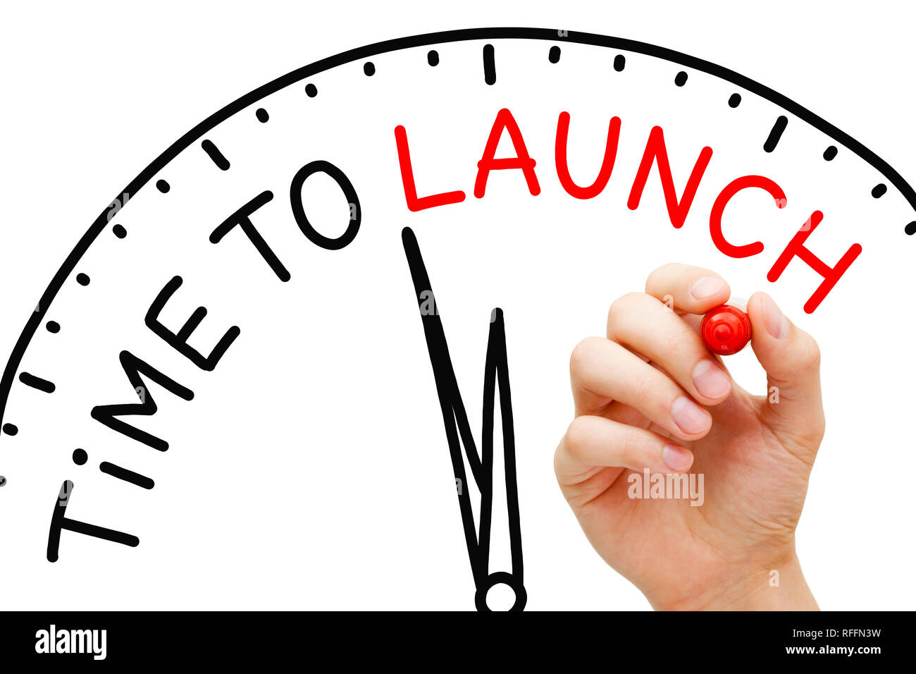 Hand writing Time to Launch clock concept with marker on transparent wipe board. - Stock Image