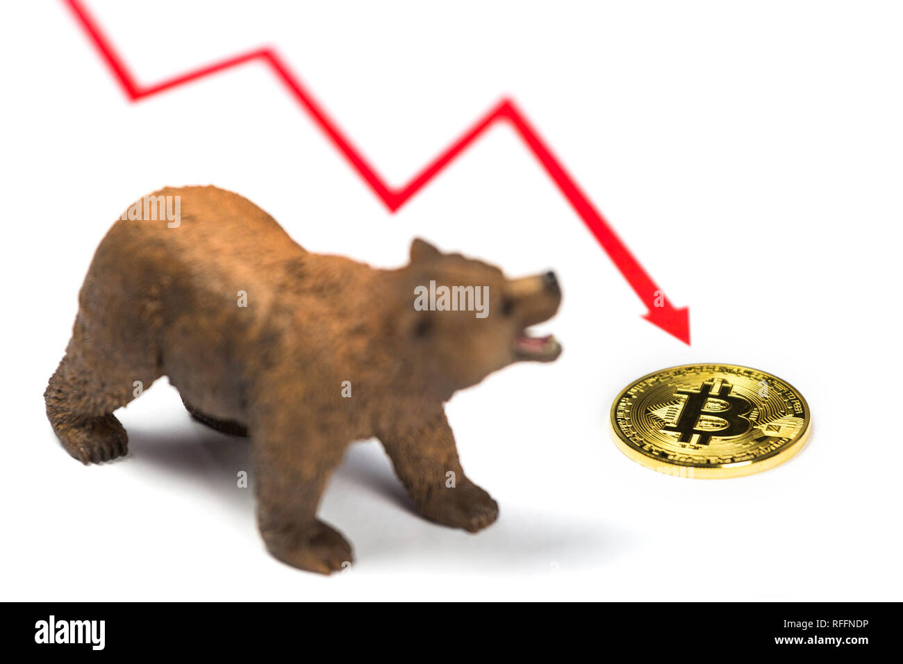 Cryptocurrency Bitcoin price crash and drop as a bear trend concept on a white background - Stock Image