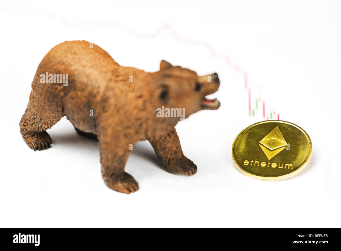 Cryptocurrency Ethereum price crash and drop as a bear trend concept on a white background Stock Photo