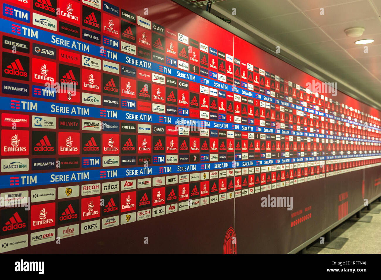 Interview area. Visiting San Siro arena. Milan, Itally Stock Photo