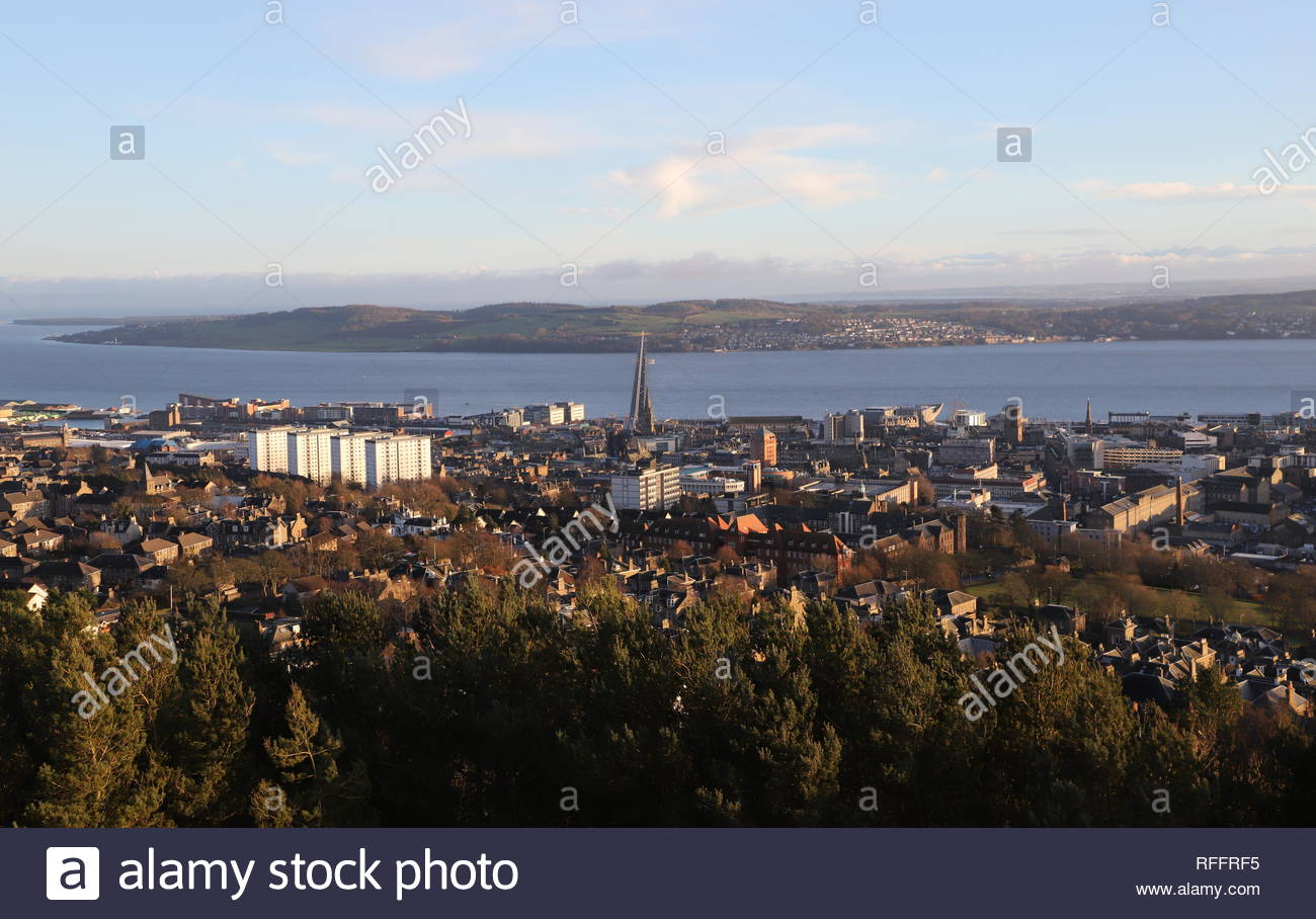 Elevated view of Dundee and Tay Road Bridge Scotland  January 2019 - Stock Image