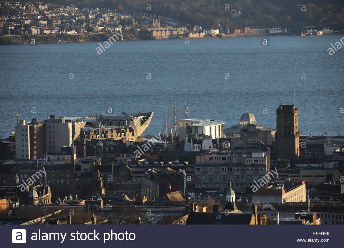 Elevated view of Discovery Point from Dundee Law Scotland  January 2019 - Stock Image
