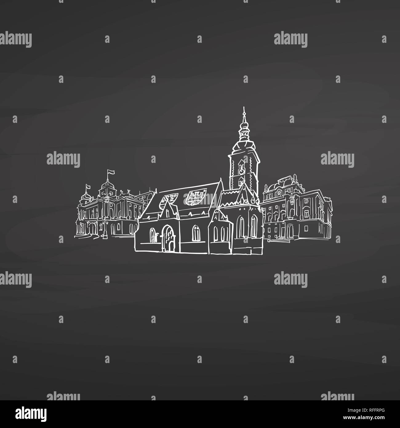 Zagreb Croatia signs on blackboard. Digital chalk drawn vector sketch on blackboard. European capitals destinations. - Stock Vector