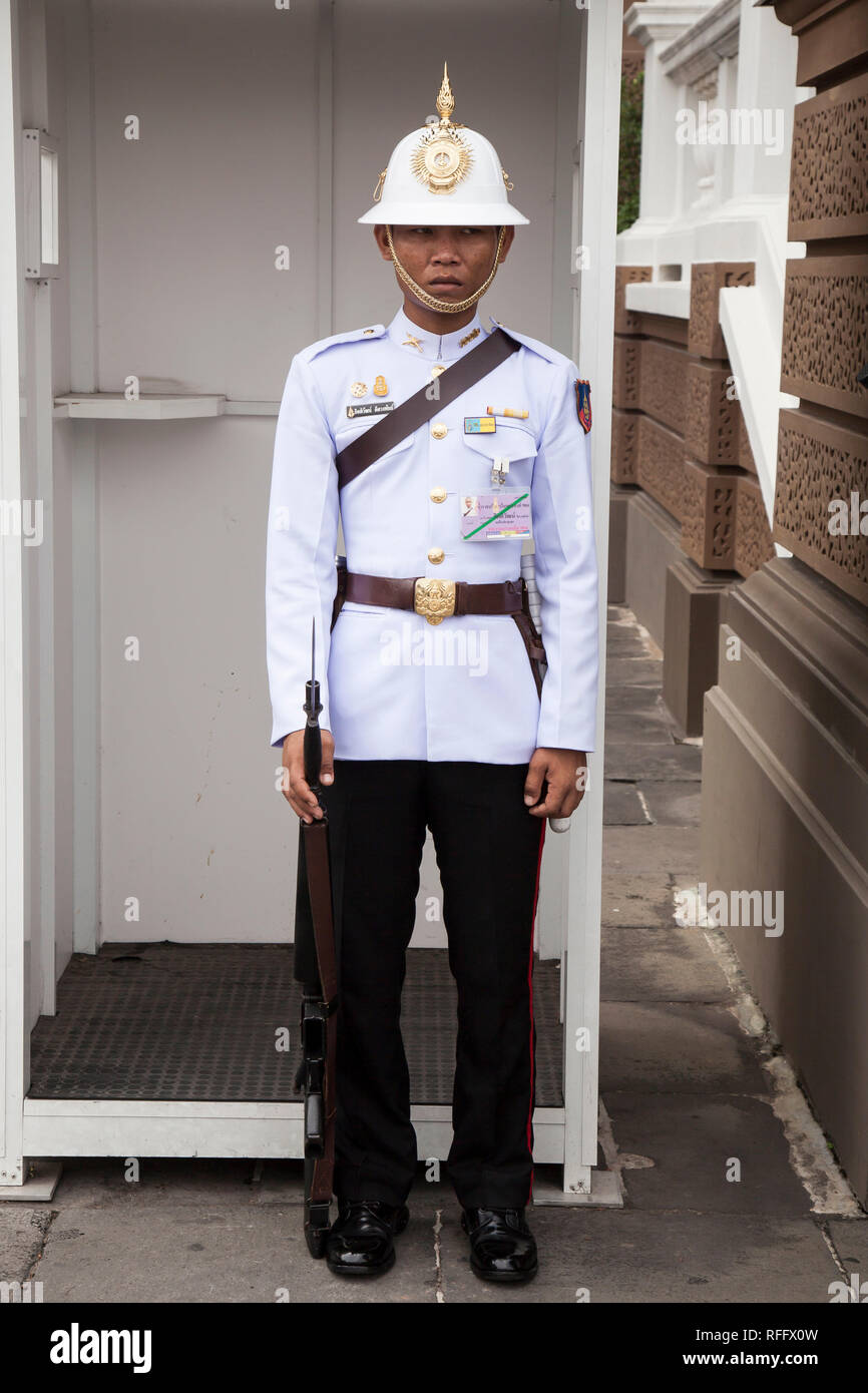 Guardsman,Wat Phra Kaew Royal Palace, Bangkok, Thailand - Stock Image