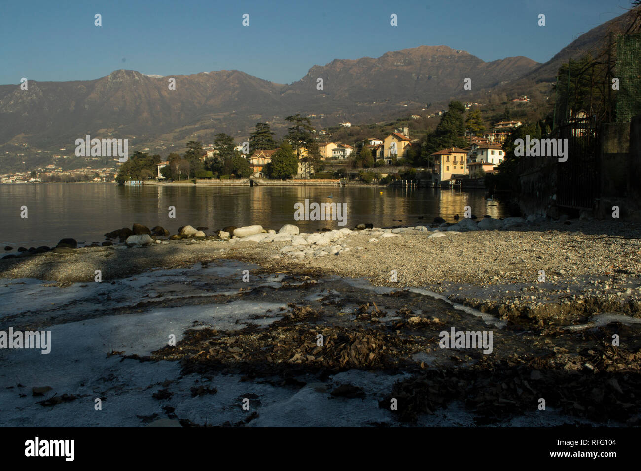 View on mountains from Sulzano on Iseo lake in Italy Stock Photo