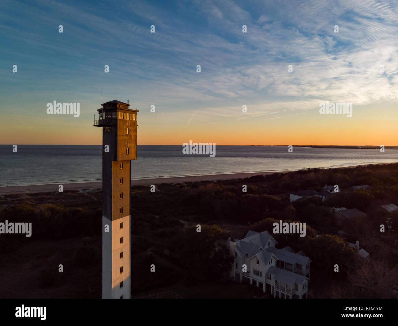 Lighthouse at Sunset - Stock Image