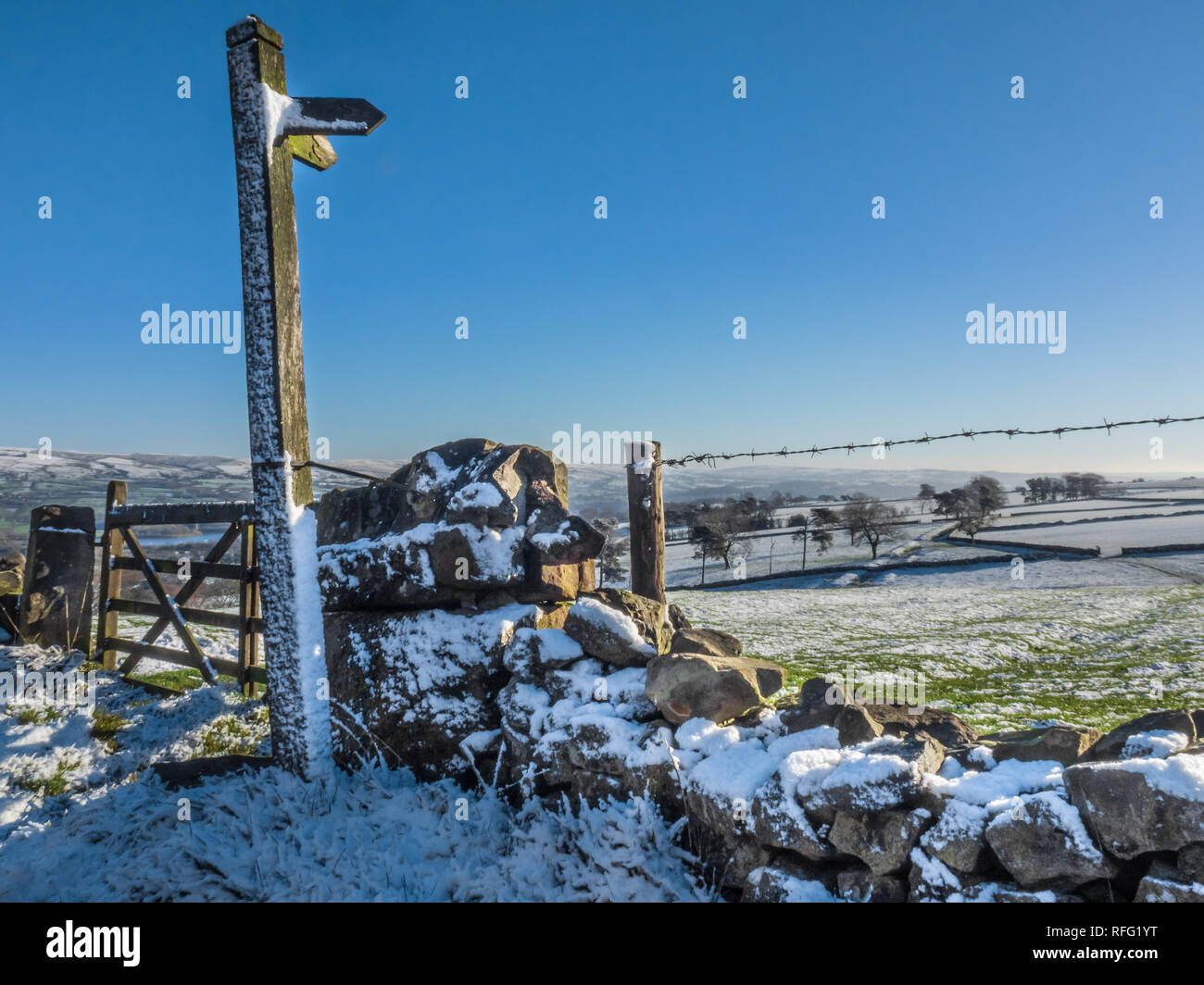 Snowy Scene with Public Footpath Sign. Staffordshire Moorlands, UK - Stock Image