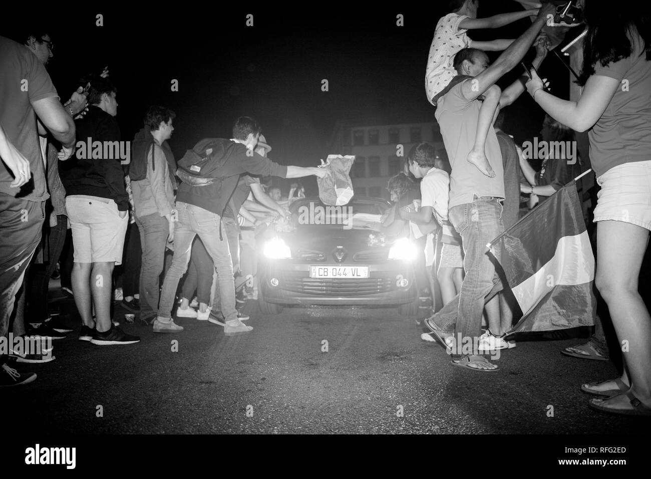STRASBOURG, FRANCE - JULY 10, 2018: Rodeo with cars - unique French celebration after the victory of France qualify for the final of the 2018 FIFA World Cup after their victory - Stock Image