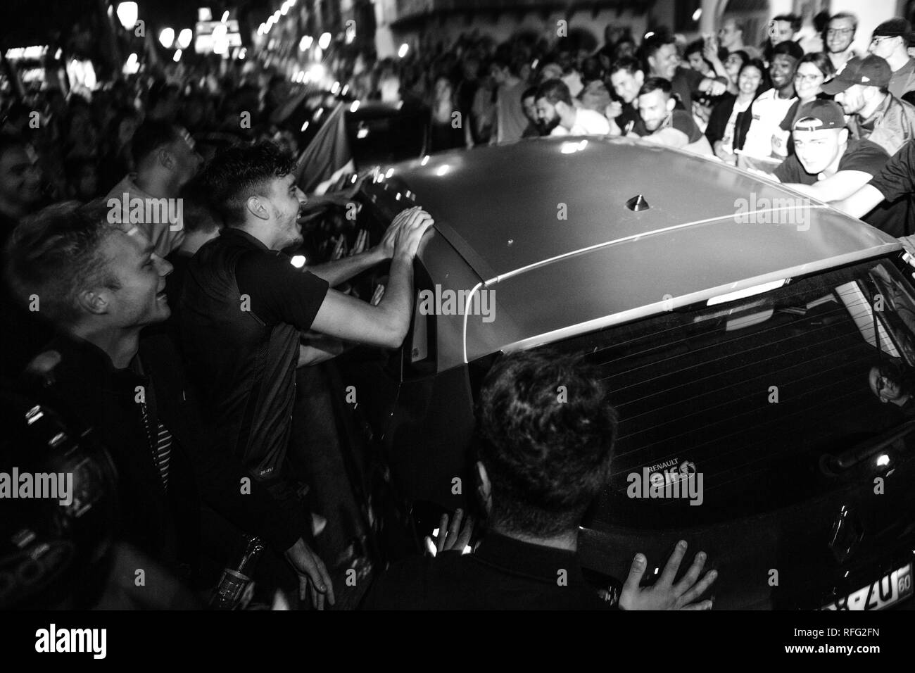 STRASBOURG, FRANCE - JULY 10, 2018: Unique French celebration after the victory of France qualify for the final of the 2018 FIFA World Cup after their victory - black and white - Stock Image