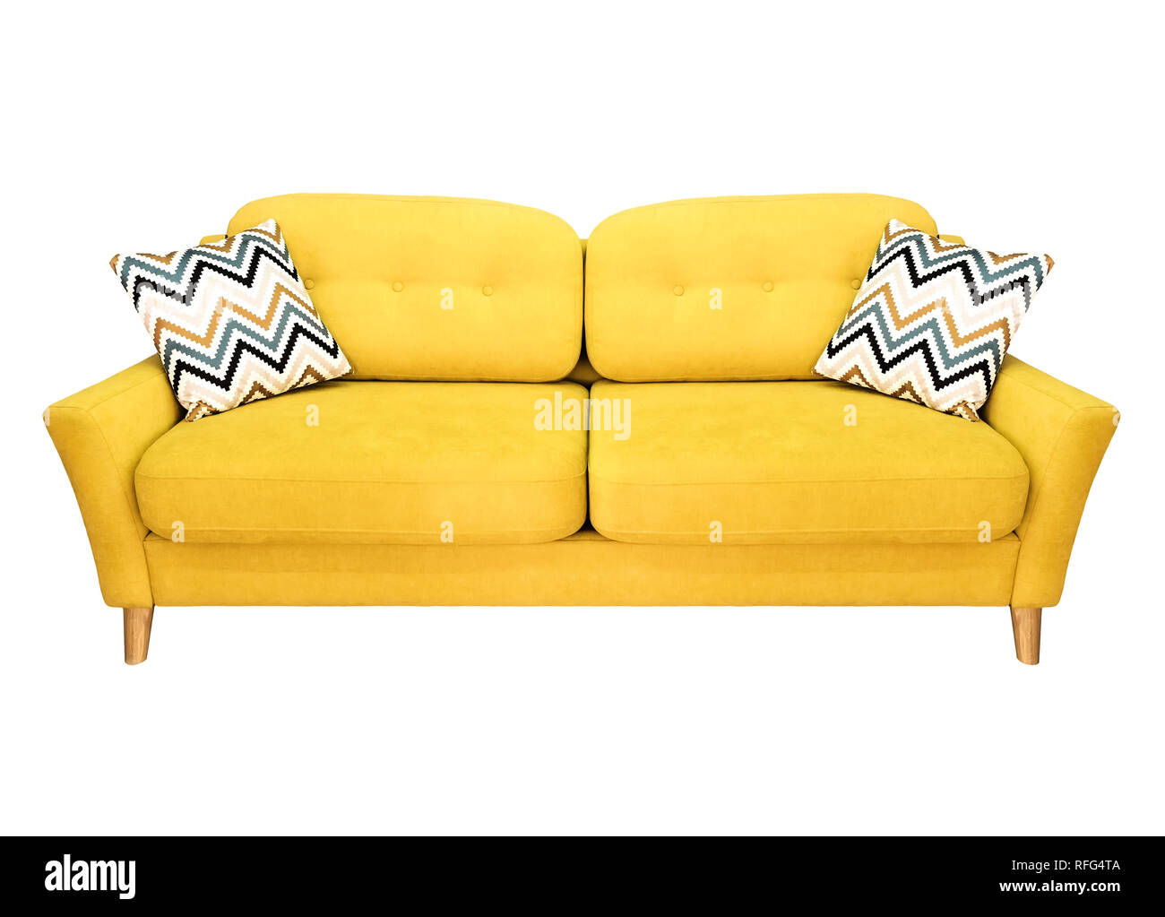 Green lemon yellow sofa with pillow. Soft lemon couch ...