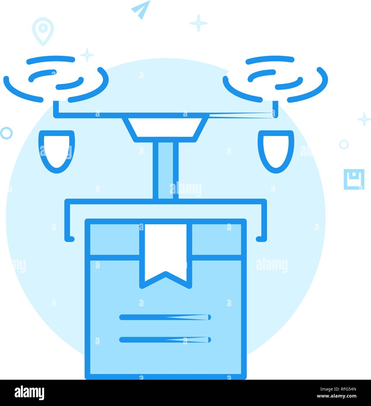 Delivery Drone Flat Vector Icon. Quadcopter Symbol, Pictogram, Sign. Light Flat Style. Blue Monochrome Design. Editable Stroke. Adjust Line Weight. - Stock Image