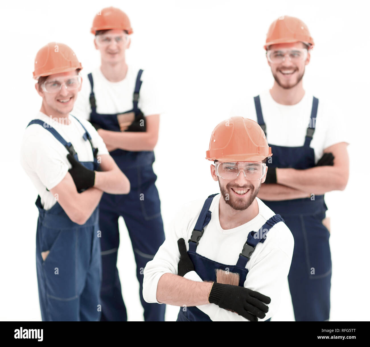 closeup.the foreman and construction team - Stock Image
