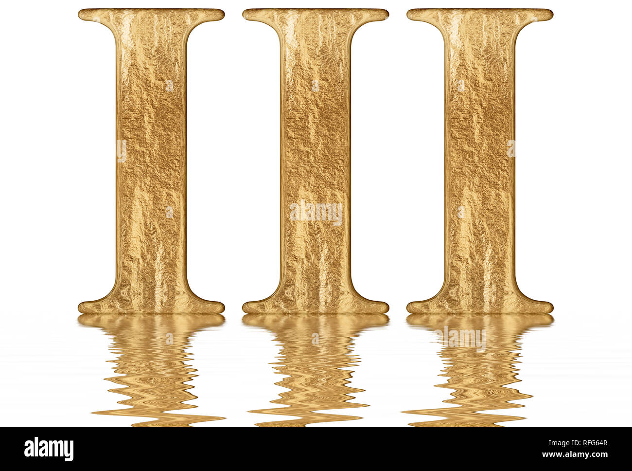 Roman numeral III, tres, 3, three, reflected on the water surface ...