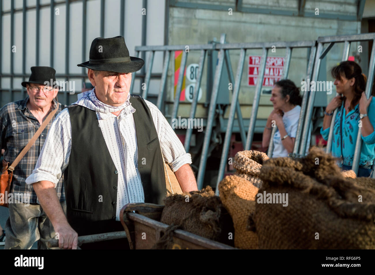 Coal seller pushing sacks on cart in Old School Parade of traditional trades at Annual Fete, Saint Gilles, Gard, France - Stock Image