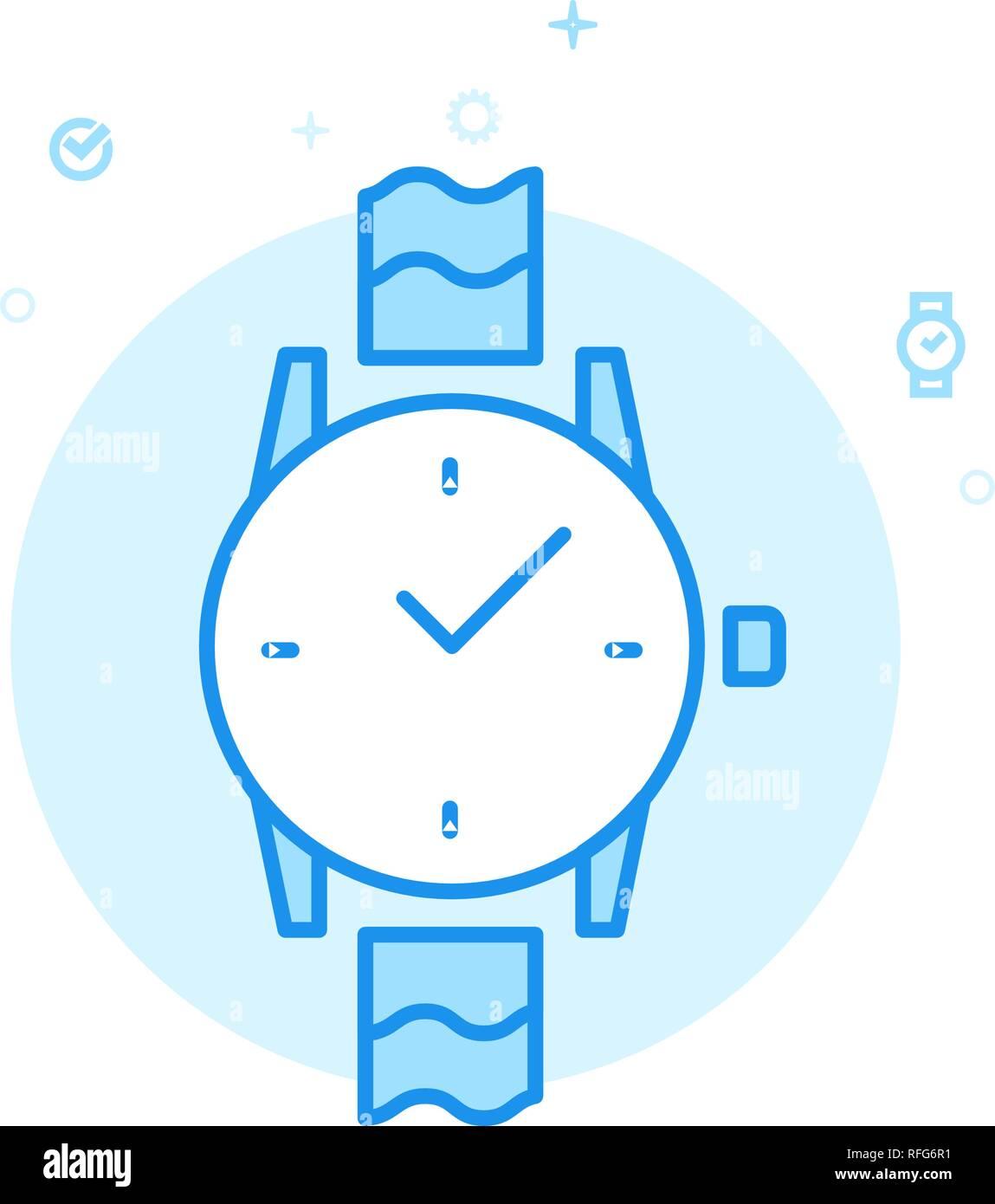 Wrist Watch Flat Vector Icon  Mechanical Analog Clock Symbol