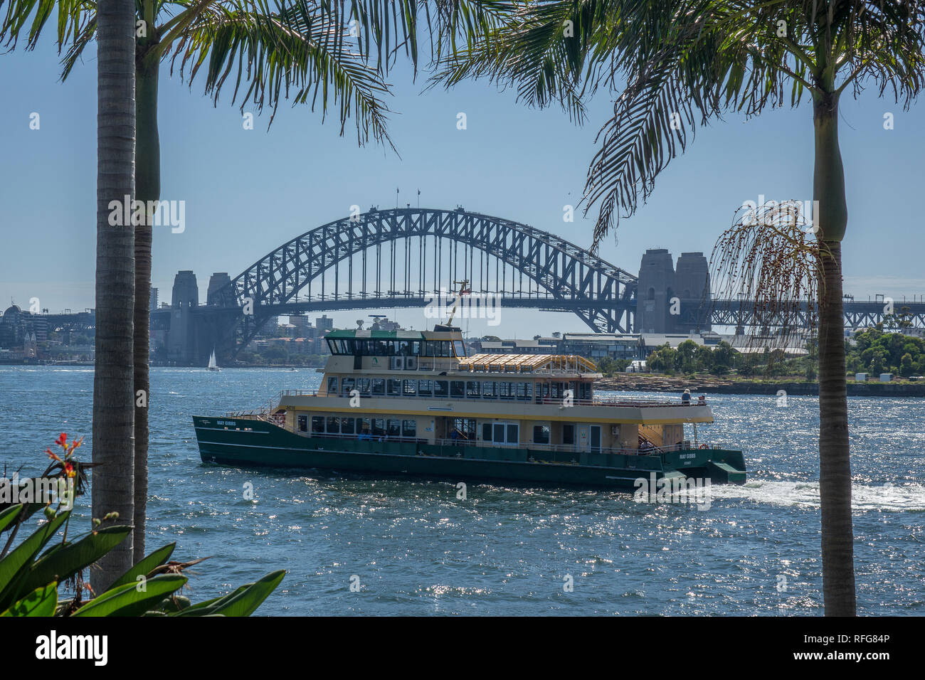 Australia, New South Wales, Sydney, Balmain, view of bridge across Darling Harbour - Stock Image