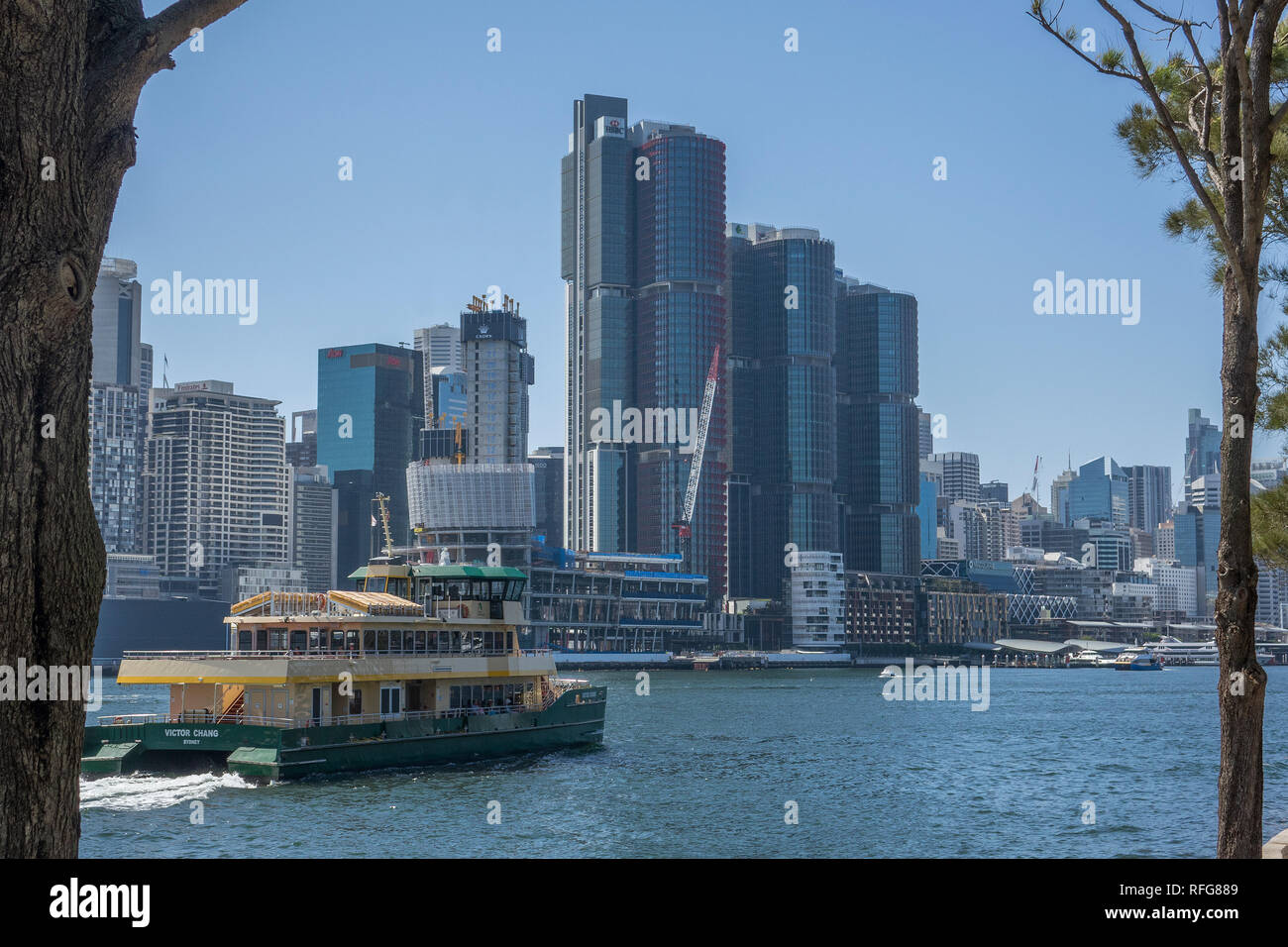 Australia, New South Wales, Sydney, Balmain, view of Barangaroo across Darling Harbour - Stock Image