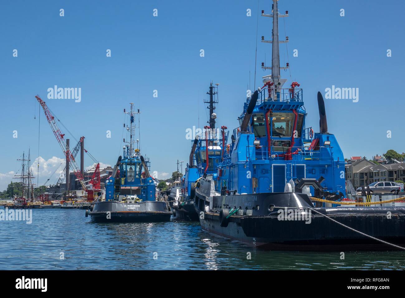 Australia, New South Wales, Sydney, tugs in White Bay docks - Stock Image