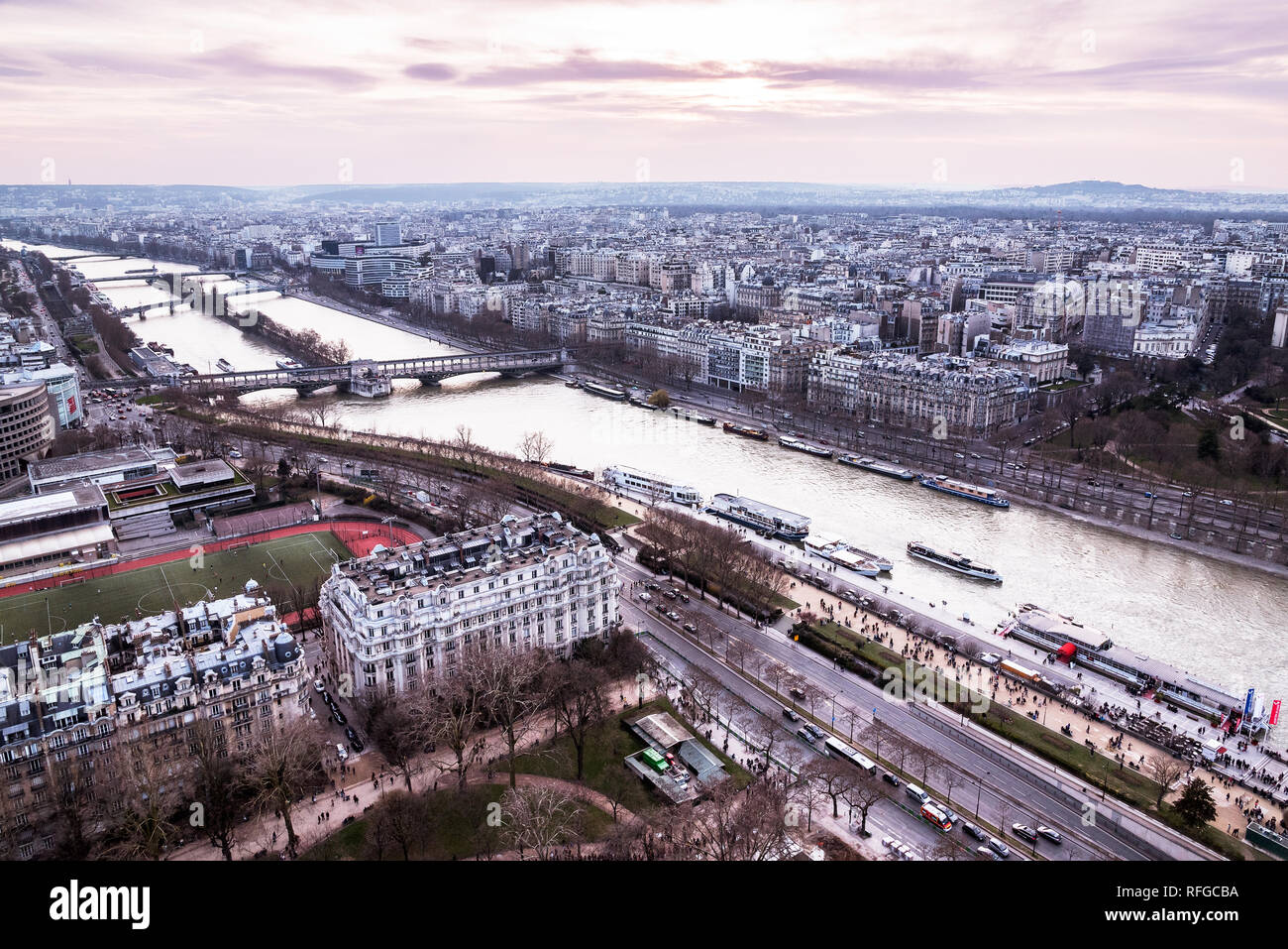Panoramic view of Paris from Eiffel tower, France Stock Photo