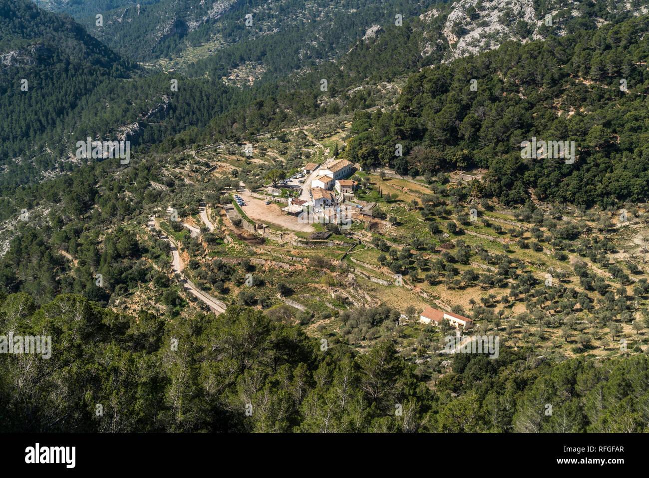 Blick auf die Finca Es Verger bei Alaro im Gebirge der Serra de Tramuntana, Mallorca, Balearen, Spanien  |   Finca Es Verger near  Alaro, Serra de Tra - Stock Image